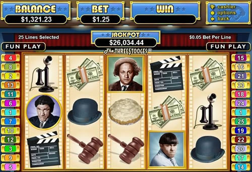 play three stooges. slots. machine