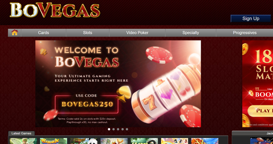 Another screenshot of BoVegas